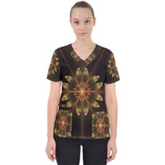 Fractal Floral Mandala Abstract Women s V Neck Scrub Top