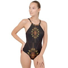 Fractal Floral Mandala Abstract High Neck One Piece Swimsuit