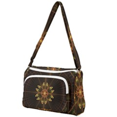 Fractal Floral Mandala Abstract Front Pocket Crossbody Bag