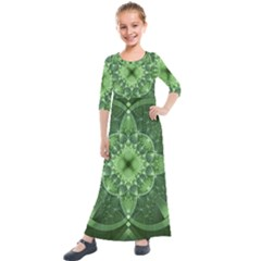 Fractal Green St Patrick S Day Kids  Quarter Sleeve Maxi Dress by Pakrebo