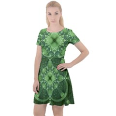 Fractal Green St Patrick S Day Cap Sleeve Velour Dress