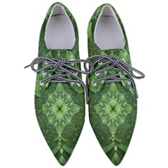 Fractal Green St Patrick S Day Pointed Oxford Shoes