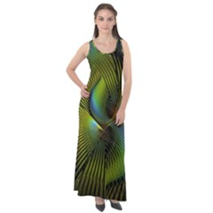 Fractal Abstract Design Fractal Art Sleeveless Velour Maxi Dress