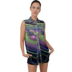 Fractal Pastel Fantasy Colorful Sleeveless Chiffon Button Shirt