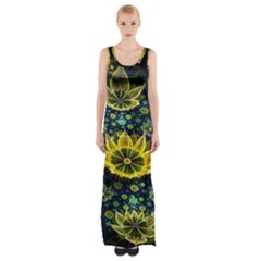 Fractal Undersea Flowers Abstract Maxi Thigh Split Dress by Pakrebo