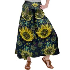 Fractal Undersea Flowers Abstract Satin Palazzo Pants by Pakrebo