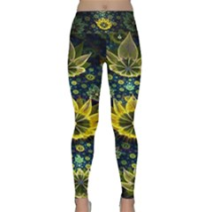 Fractal Undersea Flowers Abstract Lightweight Velour Classic Yoga Leggings