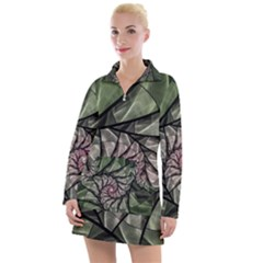 Fractal Flowers Floral Fractal Art Women s Long Sleeve Casual Dress