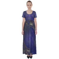 Fractal Earth Rays Design Planet High Waist Short Sleeve Maxi Dress by Pakrebo