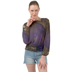 Fractal Earth Rays Design Planet Banded Bottom Chiffon Top by Pakrebo
