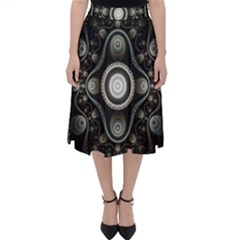 Fractal Beige Blue Abstract Classic Midi Skirt
