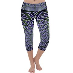 Fractal Blue Green Mirror Flowers Capri Yoga Leggings by Pakrebo