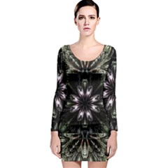 Fractal Design Pattern Texture Long Sleeve Bodycon Dress