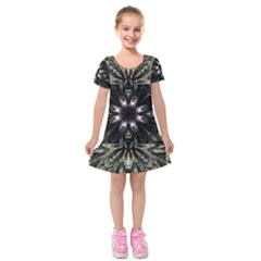 Fractal Design Pattern Texture Kids  Short Sleeve Velvet Dress