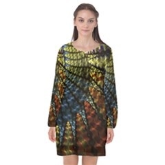 Fractal Spiral Colorful Geometry Long Sleeve Chiffon Shift Dress  by Pakrebo