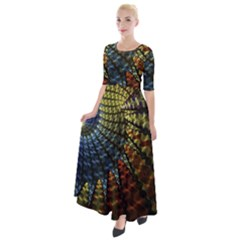 Fractal Spiral Colorful Geometry Half Sleeves Maxi Dress by Pakrebo