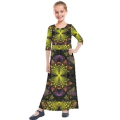 Fractal Multi Color Geometry Kids  Quarter Sleeve Maxi Dress by Pakrebo