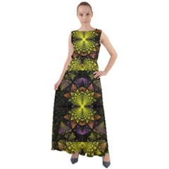 Fractal Multi Color Geometry Chiffon Mesh Maxi Dress