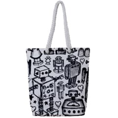 Robot Crowd Full Print Rope Handle Tote (small) by ArtistRoseanneJones