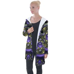 Fractal Sparkling Purple Abstract Longline Hooded Cardigan by Pakrebo