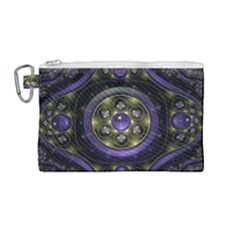 Fractal Sparkling Purple Abstract Canvas Cosmetic Bag (medium)