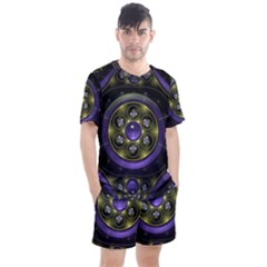 Fractal Sparkling Purple Abstract Men s Mesh Tee And Shorts Set