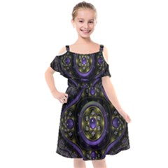 Fractal Sparkling Purple Abstract Kids  Cut Out Shoulders Chiffon Dress by Pakrebo