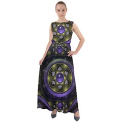 Fractal Sparkling Purple Abstract Chiffon Mesh Maxi Dress