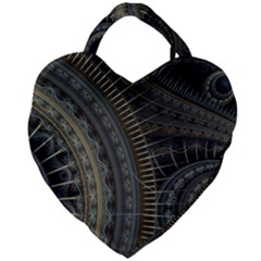 Fractal Spikes Gears Abstract Giant Heart Shaped Tote