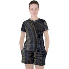 Fractal Spikes Gears Abstract Women s Tee And Shorts Set