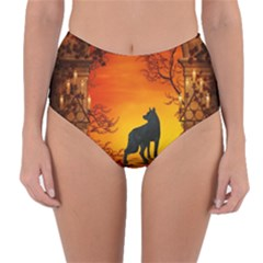 Wonderful Wolf In The Night Reversible High Waist Bikini Bottoms by FantasyWorld7