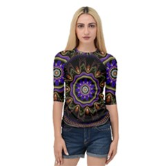 Fractal Vintage Colorful Decorative Quarter Sleeve Raglan Tee