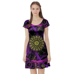 Fractal Neon Rings Geometric Short Sleeve Skater Dress