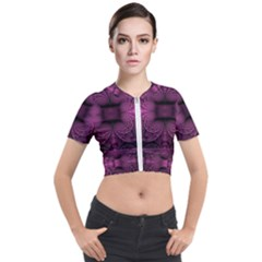 Fractal Magenta Pattern Geometry Short Sleeve Cropped Jacket by Pakrebo