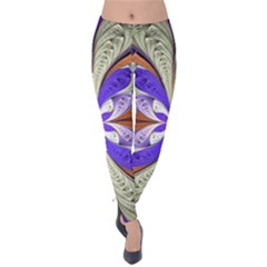 Fractal Splits Silver Gold Velvet Leggings