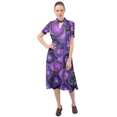 Abstract Pattern Fractal Wallpaper Keyhole Neckline Chiffon Dress