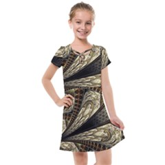 Fractal Abstract Pattern Spiritual Kids  Cross Web Dress