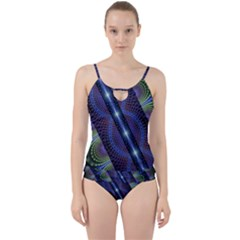 Fractal Blue Lines Colorful Cut Out Top Tankini Set