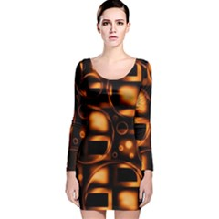 Bubbles Background Abstract Brown Long Sleeve Velvet Bodycon Dress