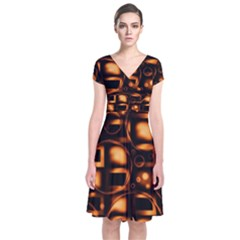 Bubbles Background Abstract Brown Short Sleeve Front Wrap Dress