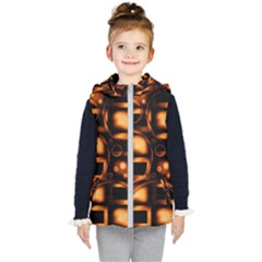 Bubbles Background Abstract Brown Kids  Hooded Puffer Vest