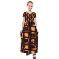 Bubbles Background Abstract Brown Kids  Short Sleeve Maxi Dress by Pakrebo