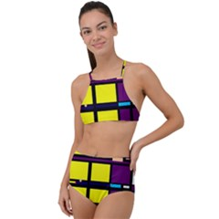 Design Pattern Colors Colorful High Waist Tankini Set