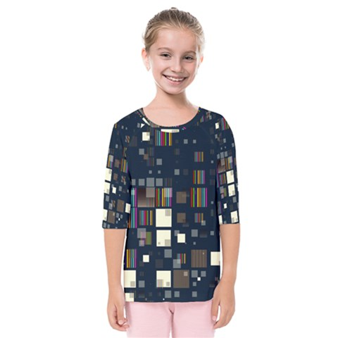 Blocks Pattern Rainbow Texture Kids  Quarter Sleeve Raglan Tee by Pakrebo
