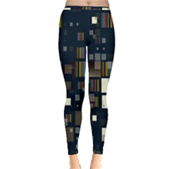 Blocks Pattern Rainbow Texture Inside Out Leggings