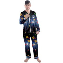 Technology Background Pattern Men s Satin Pajamas Long Pants Set by Pakrebo