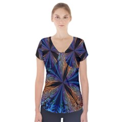 Abstract Background Kaleidoscope Short Sleeve Front Detail Top