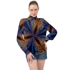 Abstract Background Kaleidoscope High Neck Long Sleeve Chiffon Top by Pakrebo
