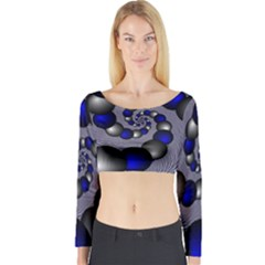 Balls Circles Fractal Silver Blue Long Sleeve Crop Top