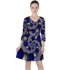 Balls Circles Fractal Silver Blue Ruffle Dress